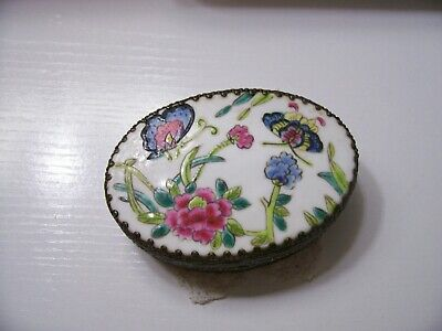 Vintage CHINESE Butterfly Porcelain Shard in Silver Plated Trinket Box ornate