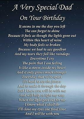 Special Dad On Your Birthday Memorial Graveside Poem Card & Ground Stake F282