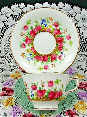 Sutherland Country Garden Pink Roses Floral Tea Cup And Saucer