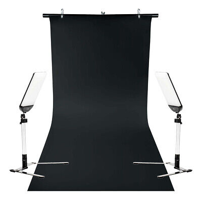 LED Panel Twin Kit Table-Top Black PVC Background Stand Product Photography