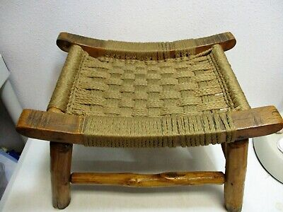 "Antique Footstool Log Wood Rush Woven Vintage 16"" x 11.5"" x 11.25"" FAST SHIPPING"