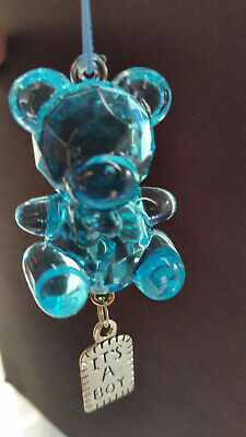 "2"" Faceted Blue Teddy Bear Ornament Baby Boy Birth Announcement"