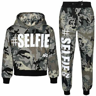 Kids Girls Tracksuit #Selfie Camouflage Charcoal Hooded Crop Top Bottom Jog Suit