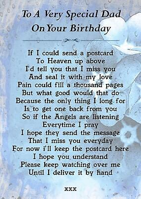 Special Dad On Your Birthday Memorial Graveside Poem Card & Ground Stake F213