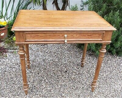 antique side table,pitch pine, french writing table, polished ,desk