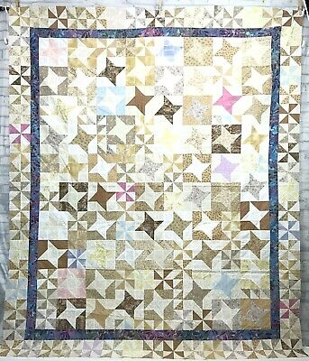"""Unfinished Quilt Top Pinwheels Stars 60"""" x 72"""""""