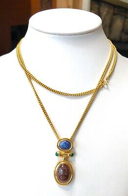 Vintage Egyptian Carved Sodalite Carnelian SCARAB Gold Tone Pendant Necklace