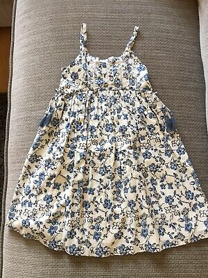 Next Blue & White Floral Strappy Sleeveless Dress 100% Cotton Age: 7 Years