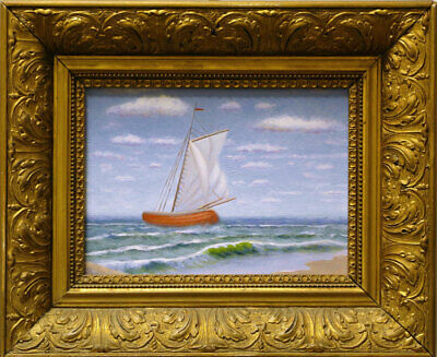 Original Maritime Art Sailboat Oil Painting with Antique Frame