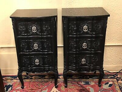 Pair of Modern Black Lacquer Nightstands End Tables w/Black Marble Tops
