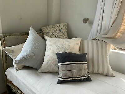 Antique Ticking French square striped blue indigo feather down pillow insert 21