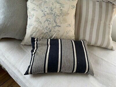 Antique Ticking French rectangle striped blue indigo feather down pillow insert