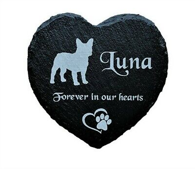 Personalised Engraved Heart Pet Memorial Grave Marker Plaque Dog French Bulldog