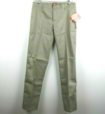 Dickies Girl Size 9 Womens Juniors Pants Pockets Solid Flare Beige Khaki NWT