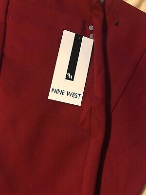 New Womens Large 10/12 Red Pants Career Nine West Woven Pleat Stylish $79 Dressy