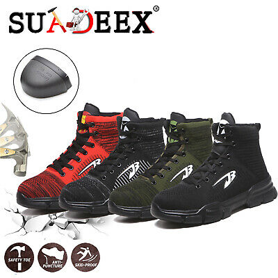 Mens Lightweight Safety Steel Toe Cap Work Ankle Hiking Boots Trainers Shoes