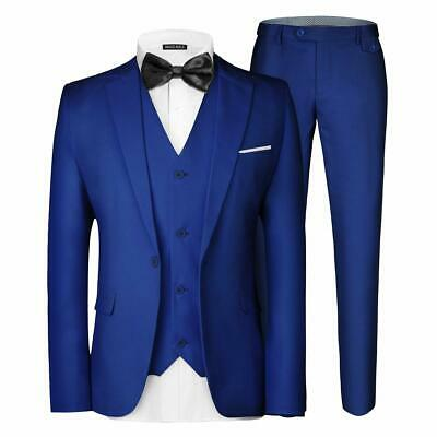 MAGE MALE Men's 3 Pieces Suit Elegant Solid Blazer Vest Pants Set Royal Blue, L