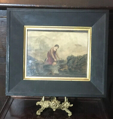 19thC Antique Watercolour Oriental Painted Scene of A Woman Collecting Water