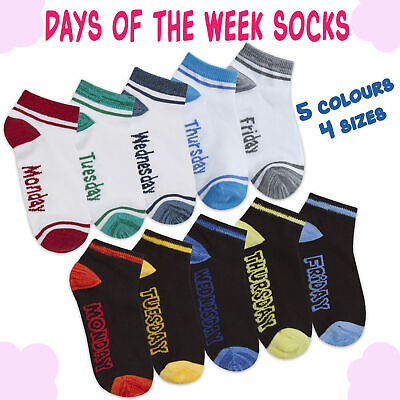 5 Pairs Girls Kids Child Cotton Rich Trainer Socks Liners Ankle Week Days Socks