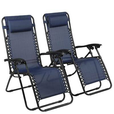 2 X Zero Gravity Folding Sun Lounger Chairs Tray Outdoor Recliner Adjustable