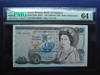 Bank of England £20 banknote 1988-91 Gill PMG graded & sealed 45M 300600