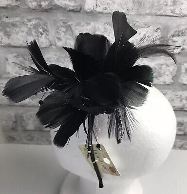 Feather & Beaded Headband Fascinator Black New With Tag Races Wedding