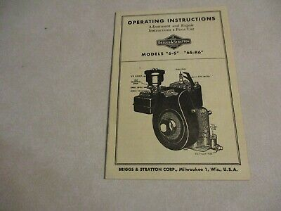 Briggs & Stratton Model 6-S AND 6S-R6 operating manual parts original