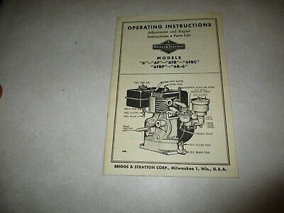 Briggs & Stratton Model 6-6F-6FB-6FBC-6FBP-6R-6 operating manual parts original