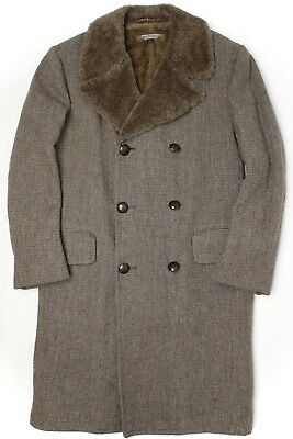 VTG Brooks Brothers Brookstweed Mens Overcoat 42 Brown Tweed Alpaca Lined Collar