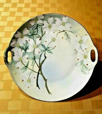 Antique Hand-painted and Artist-signed Cake Plate w/White Dogwood Floral Motif