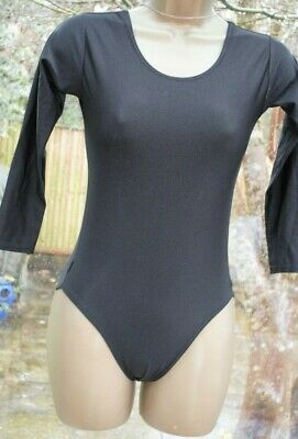 Girls Black 3/4 Sleeved Gymnastics One Piece Top In Good Condition - Age 13