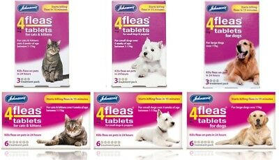 Johnsons 4Fleas Tablets Cat Dog Puppy - Starts Killing Fleas In 15 Mins 3&6 Pack