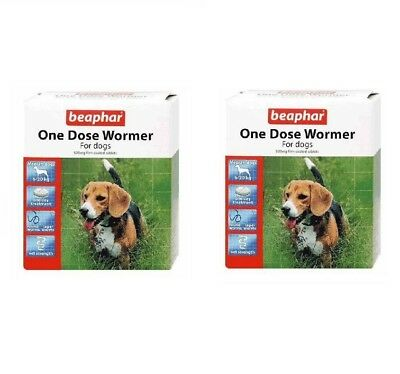 2 X Beaphar Medium Dog One Dose Wormer Worming Tablets Treatment Value Pack