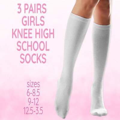 Kids Childrens Girls 3 Pairs Knee High Uniform Plain Socks Back To School White