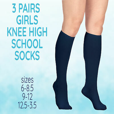 UK 3 Pairs Infant Childrens Girls Knee High Uniform Socks Cotton Rich Plain Navy