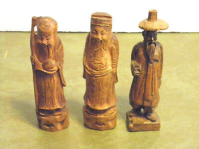 "3 Unique Vintage Hand Carved Wooden Orental People/Figurines Approx. 5 3/4"" Tall"