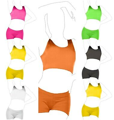 New Girls Crop Top Microfiber Lycra Plain Short Crop Top Gymnastic Dance Wear UK