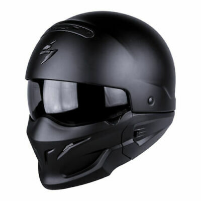Scorpion Exo Combat Matt Black Open face Urban Modular Streetfighter Helmet