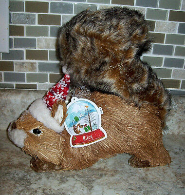 New Pier 1 Imports Natural Sisal Riley Squirrel Christmas Hat Figure Decor Fall