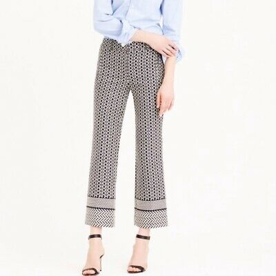 J. Crew Teddie Cropped Pants in Paneled Geometric Jacquard Print 6 black white
