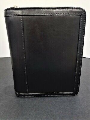 Compact Franklin Covey Leather Zipper Binder | Black | 1'' Rings