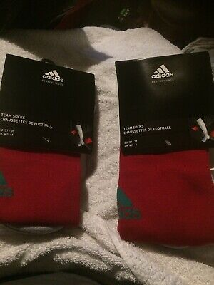2 PAIRS ADIDAS Adisock 12 Football Sock (Green Red) 4.5 to 6 NEW. R.R.P £13.98