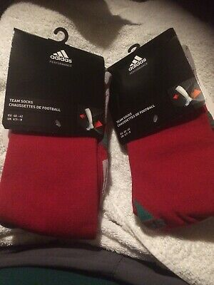 ADIDAS Adisock 12 Football Team Sock (Green Red) 6.5 to 8 NEW 2 PAIRS RRP £13.98