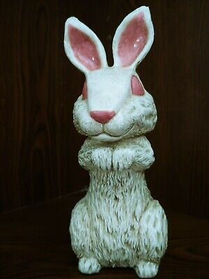 Bunny Rabbit White Sitting w Pink Ears Tail Plump Porcelain Vintage Unmarked