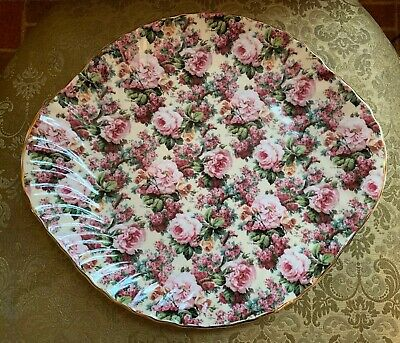 CHINTZ Collection by Royale Garden Staffordshire  England Pink Roses Platter