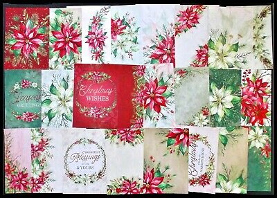 Hunkydory Little Book Of Poinsettias Christmas Card Toppers X 24 Variety 20C Ea
