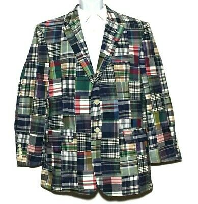 Jos A Bank Madras Patchwork Plaid Sport Coat 42R Kentucky Derby Jacket Blazer