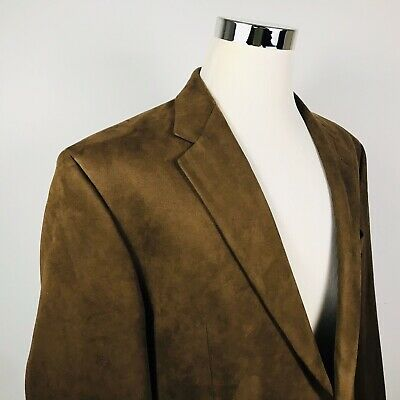 LRL Ralph Lauren Mens 46L Sport Coat Brown Sueded Poly Paisley Lined Two Button