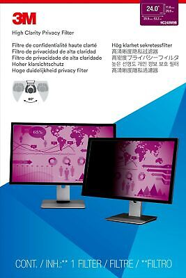 """New  3M High Clarity Privacy Filter For 24"""" Widescreen Monitor 98044065534"""