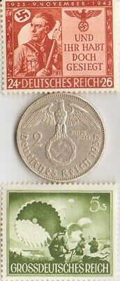(airborne PARATROOPER)  -*WW2-two RARE stamps +*german SILVER EAGLE coin